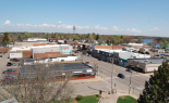 An aerial view of buildings in downtown Amery